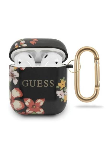 Husa Apple Airpods, Guess, Flower Collection N.4, Negru